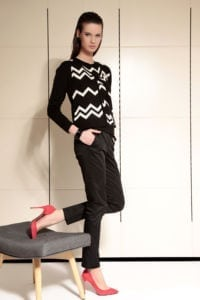 Di Caprio crni pleteni ženski kardigan s bijelim uzorkom | Varteks