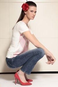 Di Caprio ženska majica s kratkim rukavima s crvenim uzorkom | Varteks