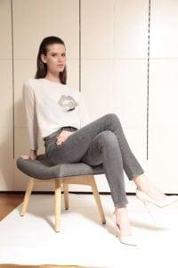 Di Caprio Push-up sive jeans ženske hlače | Varteks