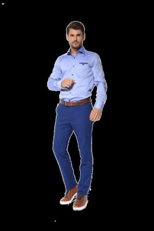 Plave muške hlače sa strukturom - Fashion fit slim