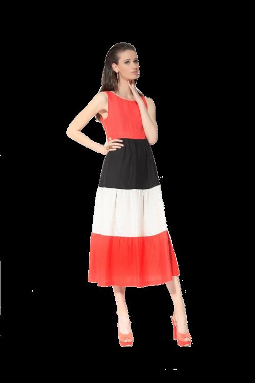 Di Caprio lanena trobojna haljina crveno-bež-crna | Varteks
