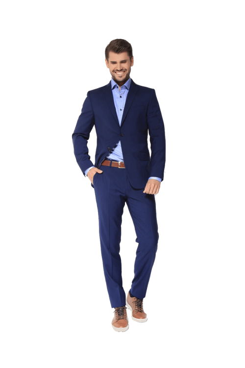 Fashion fit slim - Plavo muško odijelo, Natural stretch